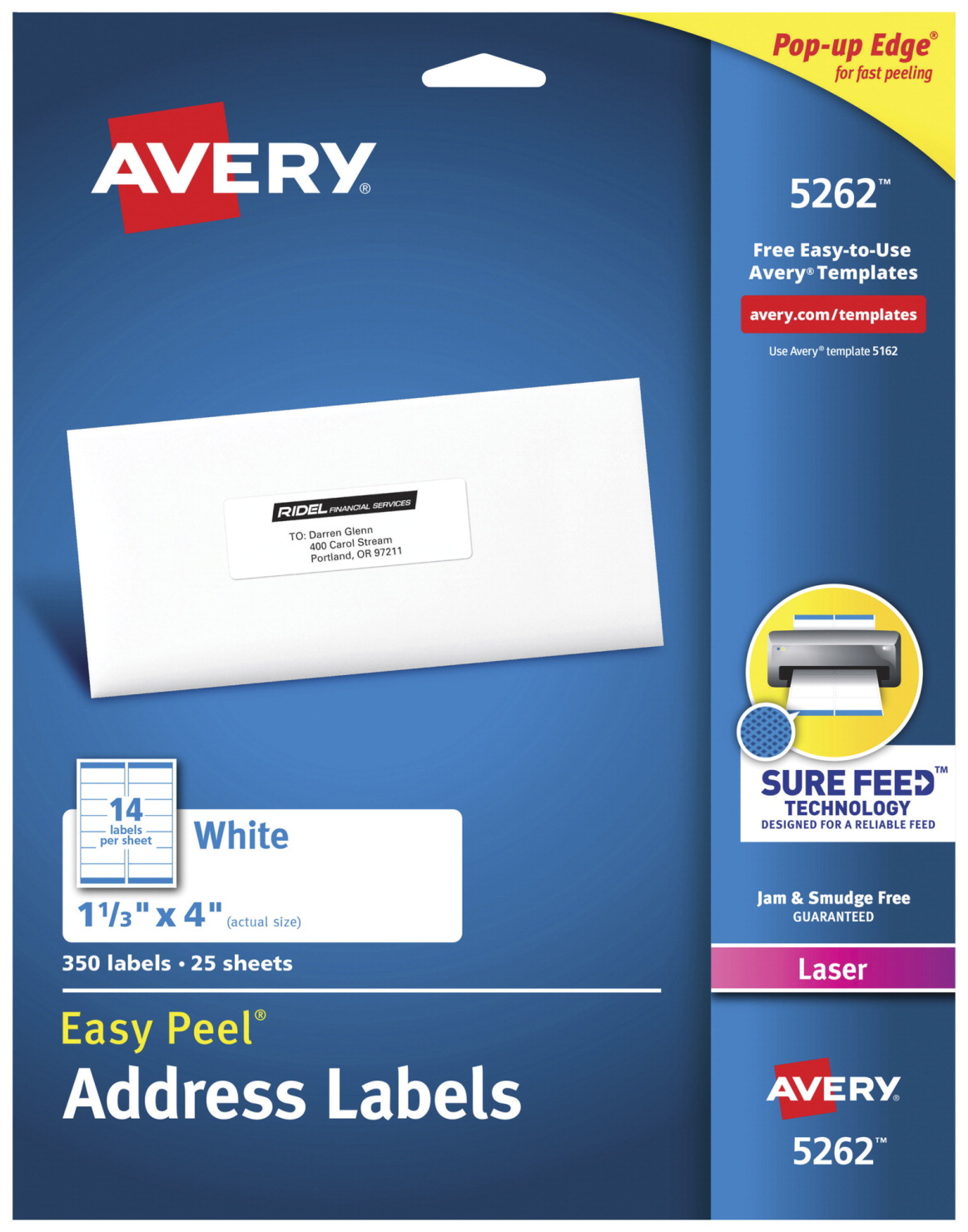 Avery Easy Peel Permanent-Adhesive Address Labels For Laser Printers, 1-1/3  x 4 Inches, White, Box of 350