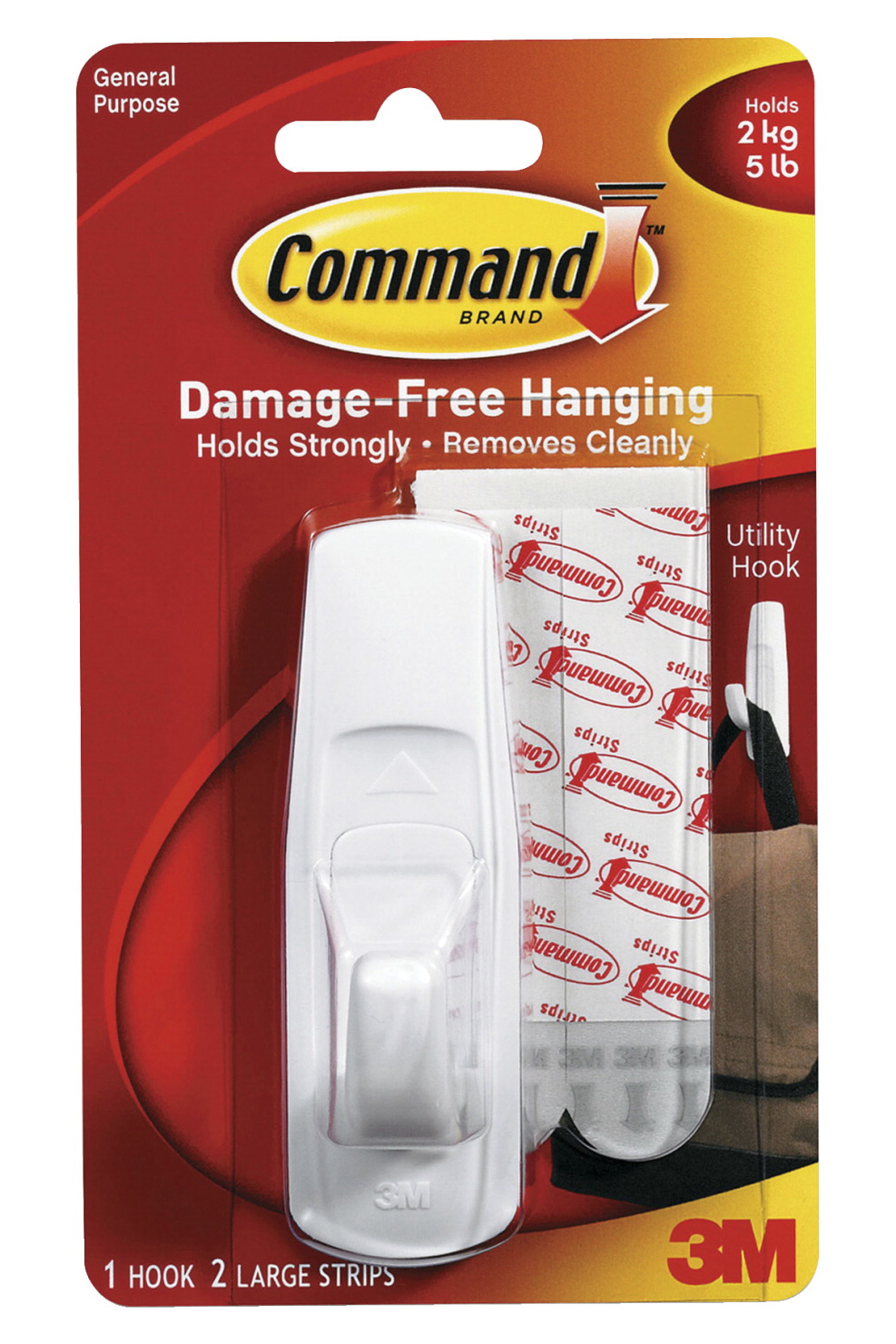 Command Reusable Utility Hook with Removable Adhesive Strips, Large, 5 lb Capacity