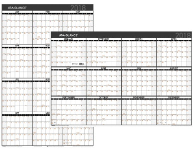 At-A-Glance 2-sided Erasable Yearly Wall Calendar, 12 x 17