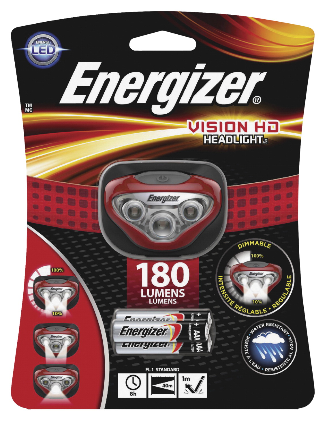 Energizer LED Vision HD Headlight, 150 Lumens, Red