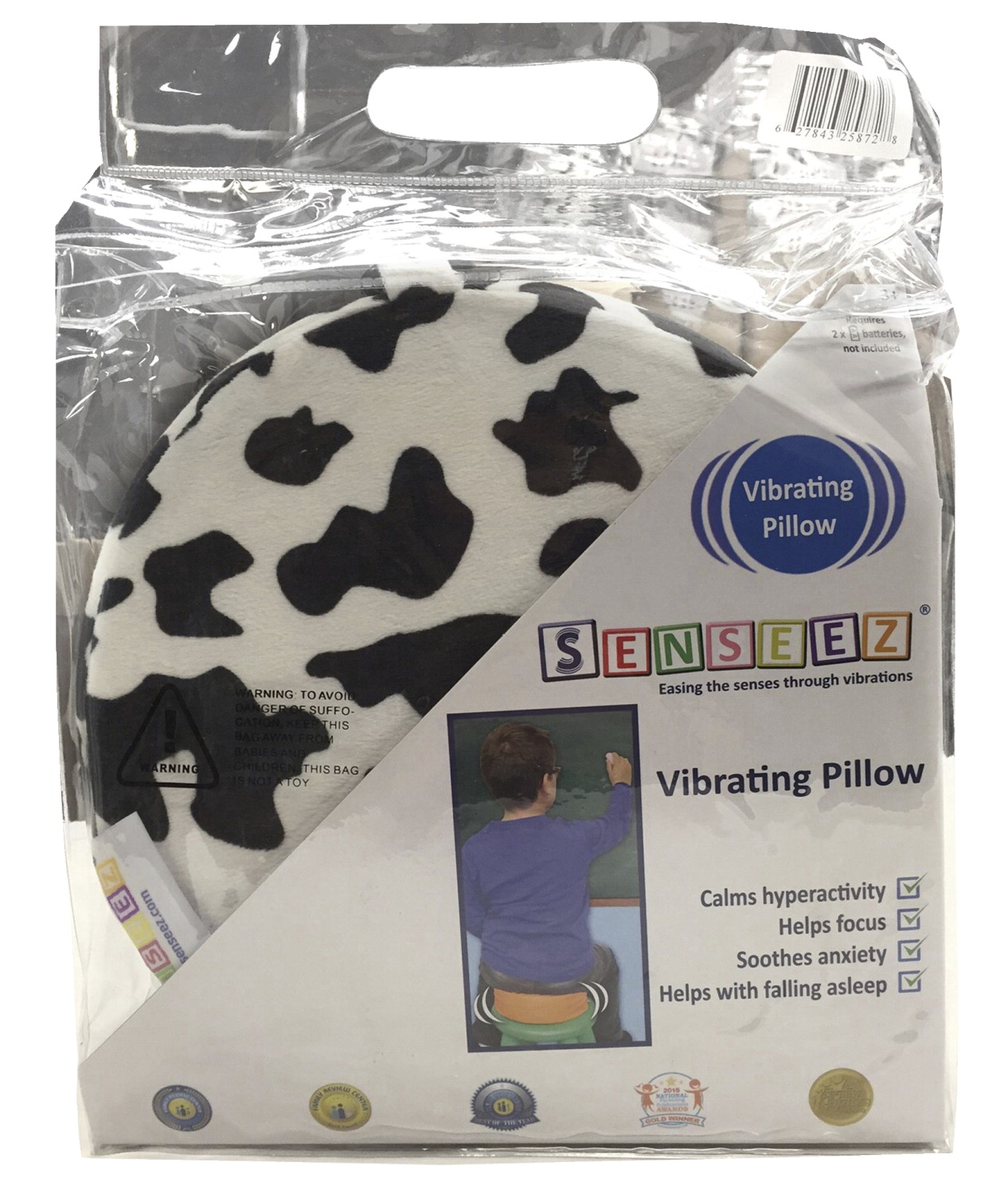 Vibrating Animal Pillow : Senseez Vibrating Pillow, Furry Cow - SCHOOL SPECIALTY MARKETPLACE