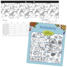 Blueline Multiplicity Design Monthly Desk Pad, Coloring, Multi, White