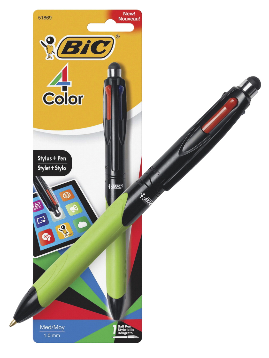 Bic 4-Color Ball Point Pen and Stylus, Rubber Grip, Assorted