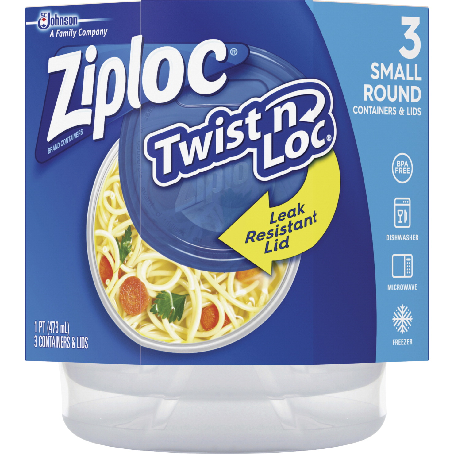 Ziploc Twist 'N Loc Containers, Clear, Pack of 3