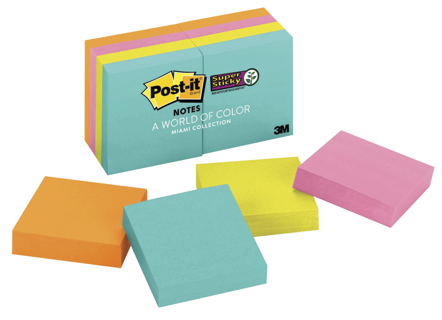 Post-It Miami Notes Pad, 2 x 2 In, Pack of 8