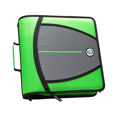 Case It Mighty Zip Tab O Ring Binder Green 3 Inches